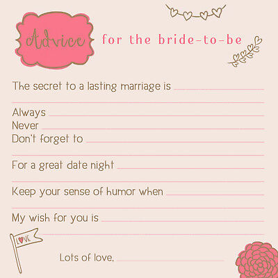 Advice Cards Bridal Shower Bride Groom Wedding Well Wishes 25 Qty
