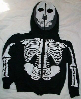 Charades boys size L large black skeleton hoodie jacket sweatshirt zip up