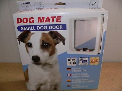 New Dog Mate 4-Way Lock Small Dog Door 221WD White 235(W)x252(H)mm Overall Size