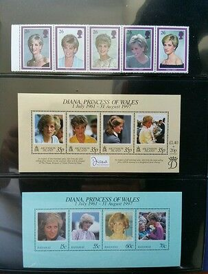 1998, British Commonwealth Princess Diana Memorial (1961 - 1997), 33 sets, MNH.