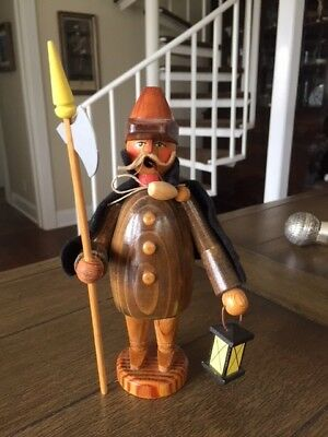 Antique VTG Erzgebirge Man w/ Lantern Incense Burner Collectible Wooden Figurine