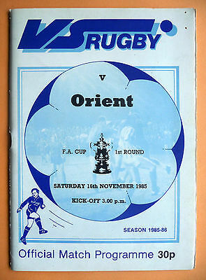 1985/1986 VS Rugby v Leyton Orient - fa cup round 1 - 16/11/1985
