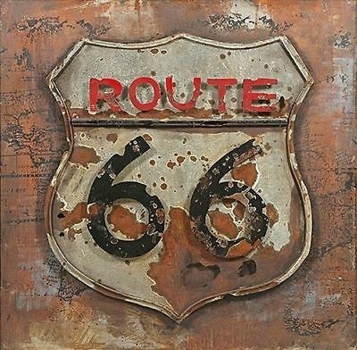 "Classic US Route 66 Sign 3-D Weathered Iron Metal Wall Art Actual Size 31.5"" H"
