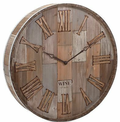Large Old Fashioned Wine Barrel Wall Clock Rustic Country Wood Bar Decor 28""