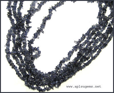 """Beautiful 34"""" Blue Iolite Chip Beads Necklace"""