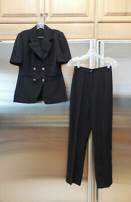 2-pc Pant suit Pant set double breasted Top & Trouser Pants  Navy Italy Chelci