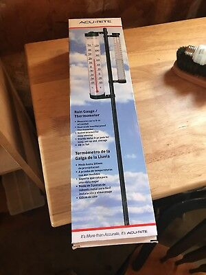 AcuRite Rain Gauge with Enclosed Tube Thermometer on Swivel Bracket