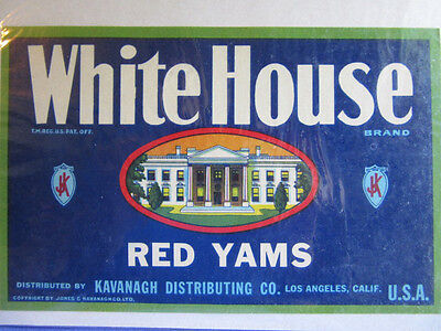 Crate Label Original White House Brand Red Yams Art Print Ad Fruit Kavanagh USA