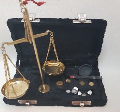 Brass Scales Indian 10g Weigh Measure Small Weights BLACK Velour Box