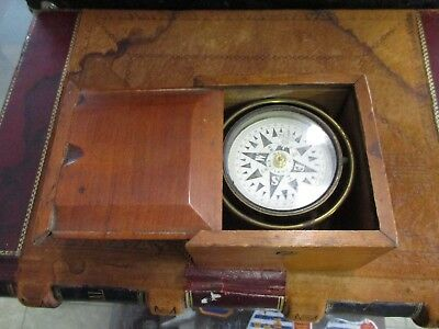 Antique Gimballed Ships or boat compass Made In England wood cased