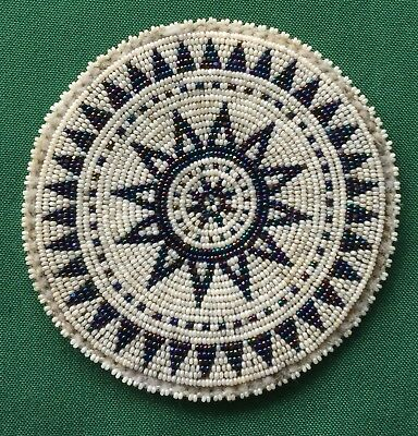 Vintage Seed Bead Medallion Dress Ornament Patch Navajo White Black Blue