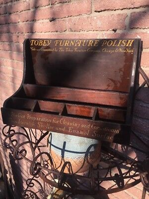 Antique Tobey Furniture Polish Wood Display Chicago Ny