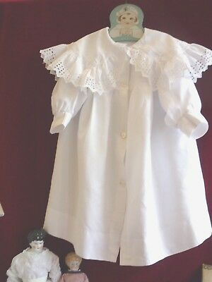 Lovely Antique/Vintage Cotton Pique Baby Coat Brod Ang TrimGC.