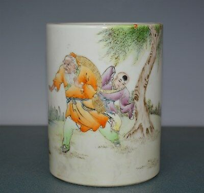 Delicate Antique Chinese Famille Rose Porcelain Brush Pot Marked Wang Dafan By39