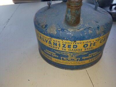 Antique Vintage 1-Gal. Galvanized Steel Oil Can-Eagle Brand- No. 401