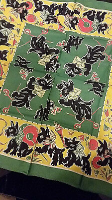 """Vintage Scotty Dog Scarf Silky Nylon Blend for Young Girl 20"""" x 20"""" 1950's"""
