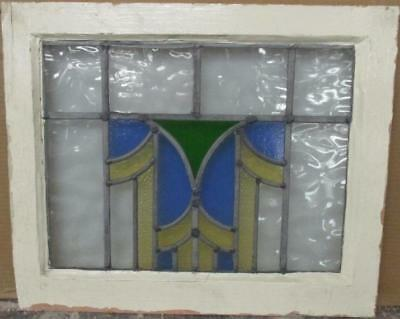 """OLD ENGLISH LEADED STAINED GLASS WINDOW Pretty Geometric 20.75"""" x 17"""""""