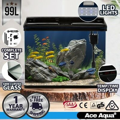 Ace Aqua 99L Aquarium Fish Tank Curved Glass Complete Set Filter Pump LED Light