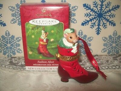 Hallmark Fashion Afoot #1 Series 2000 Christmas Keepsake Ornaments Mouse In Shoe