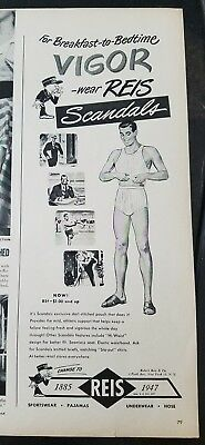 1947 men's REIS scandals underwear for breakfast to bedtime vintage fashion ad