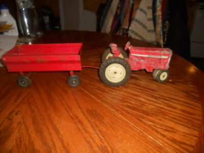 Vintage ERTL International Harvester Toy Tractor with Red Farm Wagon
