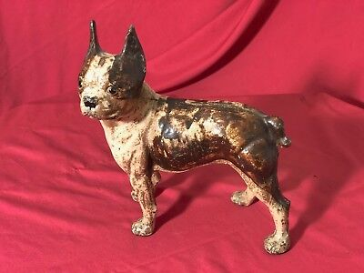 Large Antique Hubley Facing Left Boston Terrier Bull Dog Cast Iron Door Stop