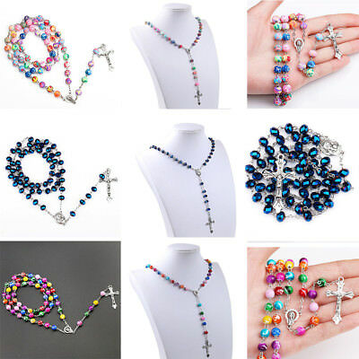 Rosary Beads Rosary Necklace / Chain Catholic Prayer Beads Cross Silver Chain Uk