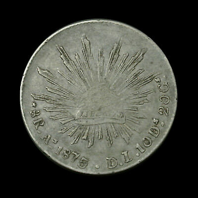 1875-As Mexico Silver 8 Reales - Rare As D.L. Type - Better Grade