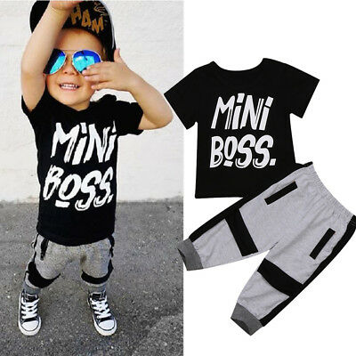 US Stock Toddler Kids Boys Summer T-shirt Tops Long Pants Outfits Set Clothes