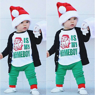 2Pcs Toddler Kids Boys Santa Tops T-shirt Pants Outfits Set Clothes Age 1-6Y