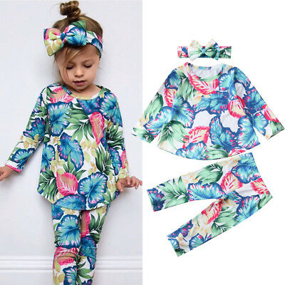 Lovely Infant Kid Baby Girl Outfit Flower Top Blouse Pants Headband Clothes 3Pcs