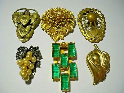 Gorgeous Lot of Vintage Dress Clips Green Rhinestone, Faux Pearl Grapes Brass