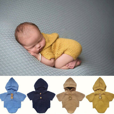 New Baby Girls Boys Knit Crochet Hooded Romper Photo Photography Prop Outfits