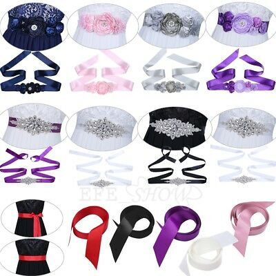 Women's Ribbon Sash Wedding Party 3D Floral Pearls Dress Belt Bridal Bridesmaid