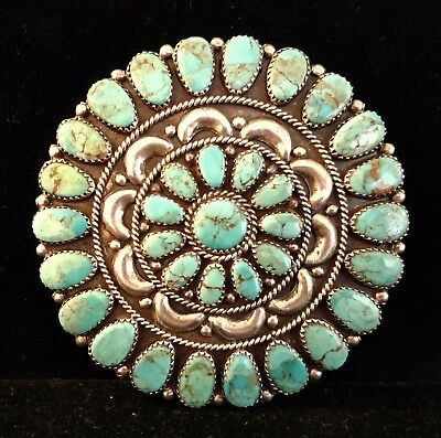 Fine big signed Navajo petitpoint brooch, Larry Moses Begay