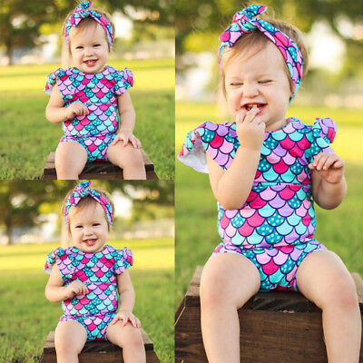 Kids Baby Girls Fish Scales Swimwear Swimsuit Beachwear Bathing Suit Headband AU