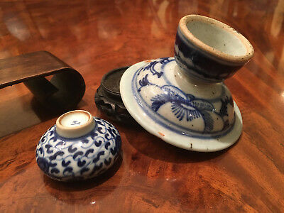 Two Chinese Antique Blue and White Porcelain Items.