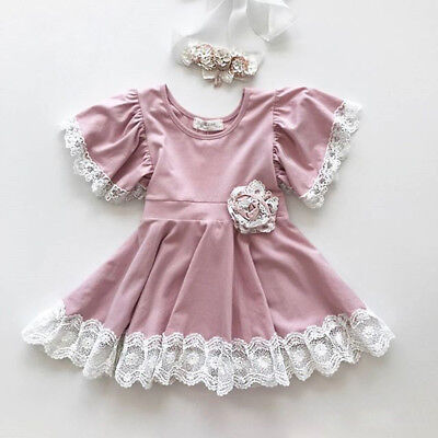 Flower Girls Dress Kids Baby Lace Floral Party Bridesmaid Dresses Summer Clothes