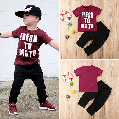 Kids Baby Boys Casual Short Sleeve Tops T-shirt Pants Trousers Outfits Clothes