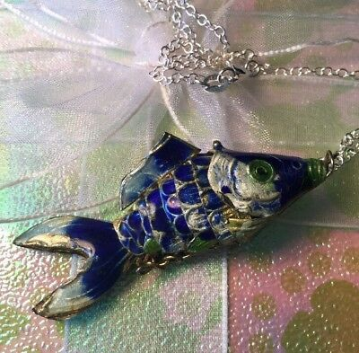 Vintage 1970s Blue Enamel Articulated Fish Pendant 925 Silver Chain Necklace