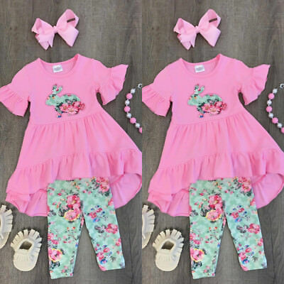 USA Kids Baby Girls Easter Tops Blouse Dress Pants Leggings Outfits Clothes HZ