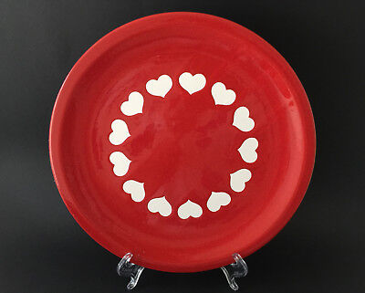 Vintage Waechtersbach West German Pottery Red Dinner Plate with White Hearts