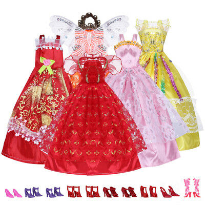 5 Barbie Doll Clothes + Shoes Handmade Short Dress Party Gown Outfits For