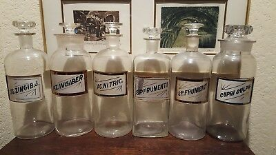 Lot of 6 antique Pharmacy Apothecary 12 in. LUG bottles beautiful!