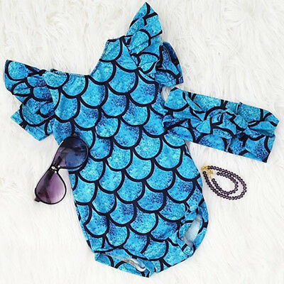 AU 2PCS Kids Toddler Baby Girl Mermaid Romper Swimsuit Swimwear Bathing Outfits
