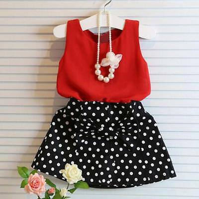 Fashion 2PCS Baby Girl Vest Pleated Dress Tops T-Shirt+Skirt Suit Outfits Set