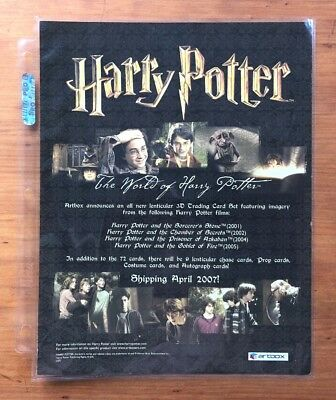 2007 Artbox The World of Harry Potter 3D Trading Cards - Dealer Sell Sheet