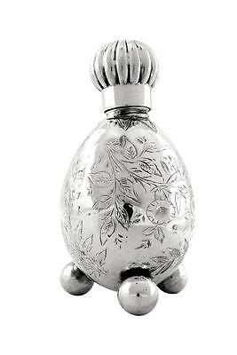 """Antique Victorian Sterling Silver 3"""" Perfume / Scent Bottle 1870"""