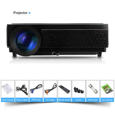 LCD LED 5000LMS 2000:1 HD 1080P Video Projector Home Theater Movie Game HDMI USB