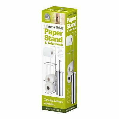 Free Standing Silver Chrome Bathroom Toilet Paper Roll Holder And Brush Set